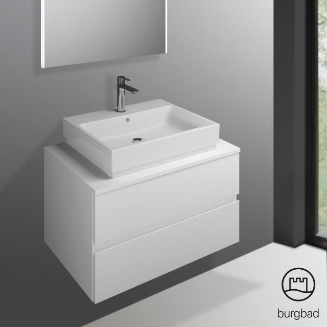 Burgbad Cube Waschtischunterschrank mit 2 Auszügen Front weiß matt / Korpus weiß matt