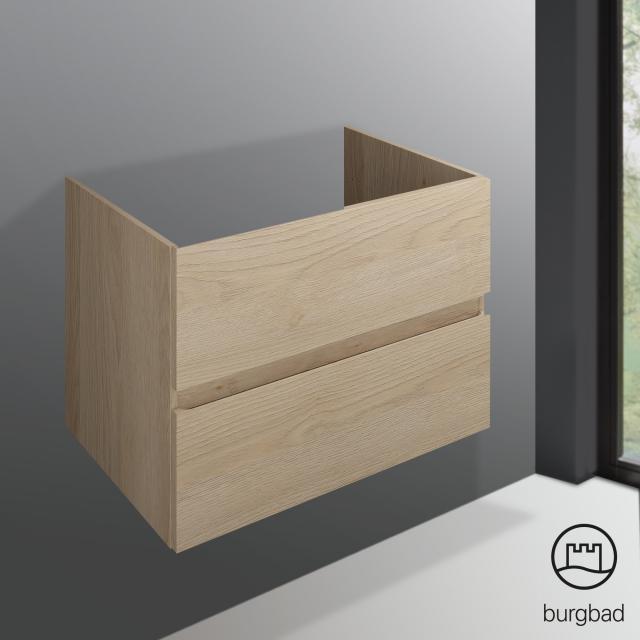 Burgbad Cube Waschtischunterschrank für Einbau- oder Unterbauwaschtisch mit 2 Auszügen Front eiche cashmere dekor / Korpus eiche cashmere dekor