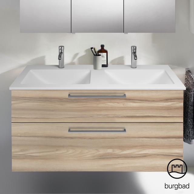 Burgbad Eqio Doppelwaschtisch mit Waschtischunterschrank mit 2 Auszügen Front frassino cappuccino dekor / Korpus frassino cappuccino dekor, Stangengriff chrom