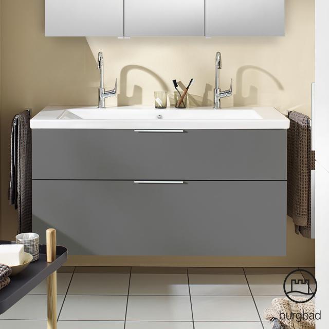 Burgbad Eqio Doppelwaschtisch mit Waschtischunterschrank mit 2 Auszügen Front grau hochglanz / Korpus grau glanz, Griff chrom