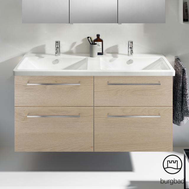 Burgbad Eqio Doppelwaschtisch mit Waschtischunterschrank mit 4 Auszügen Front eiche cashmere dekor / Korpus eiche cashmere dekor, Stangengriff chrom