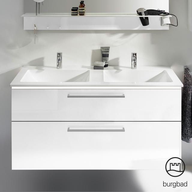 Burgbad Eqio Doppelwaschtisch mit Waschtischunterschrank mit LED-Beleuchtung mit 2 Auszügen Front weiß hochglanz / Korpus weiß glanz, Stangengriff chrom