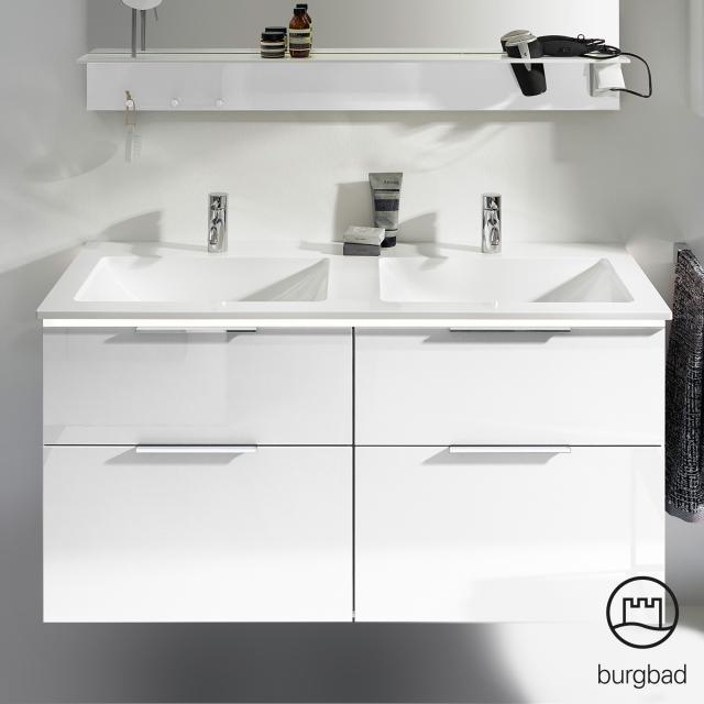 Burgbad Eqio Doppelwaschtisch mit Waschtischunterschrank mit LED-Beleuchtung mit 4 Auszügen Front weiß hochglanz / Korpus weiß glanz, Griff chrom