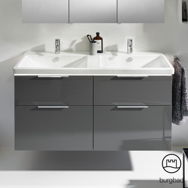 Burgbad Eqio Doppelwaschtisch mit Waschtischunterschrank mit LED-Beleuchtung mit 4 Auszügen Front grau hochglanz / Korpus grau glanz, Griff chrom