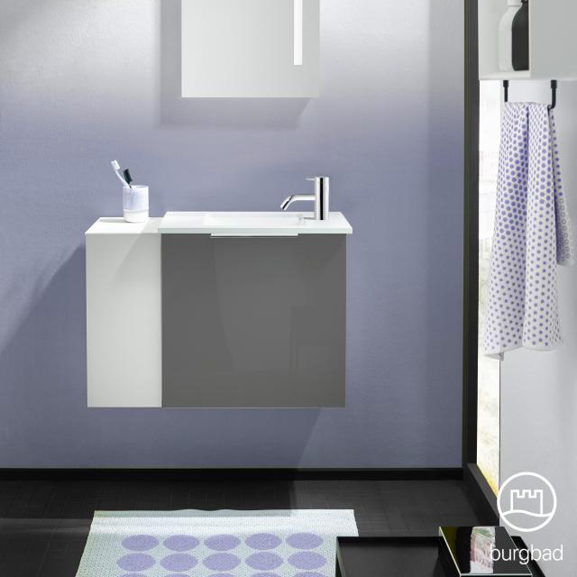 Burgbad Eqio Handwaschbecken mit Waschtischunterschrank mit 1 Klappe mit offenem Fach Front grau hochglanz/weiß matt / Korpus grau glanz, Griff chrom
