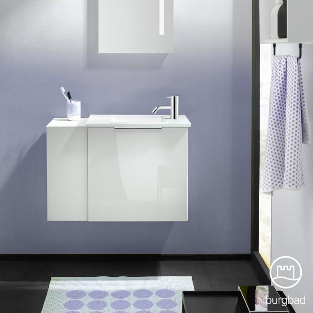 Burgbad Eqio Handwaschbecken mit Waschtischunterschrank mit 1 Klappe mit offenem Fach Front weiß hochglanz/weiß matt / Korpus weiß glanz, Griff chrom