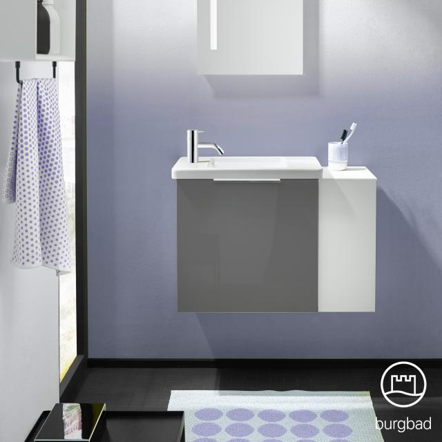 Burgbad Eqio Handwaschbecken mit Waschtischunterschrank mit 1 Klappe mit offenem Fach Front grau hochglanz / Korpus grau glanz, Griff chrom
