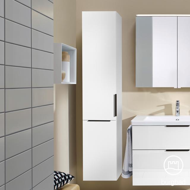 Burgbad Eqio Hochschrank mit 1 Tür und 1 Wäschekippe Front weiß hochglanz / Korpus weiß glanz, Griff schwarz matt