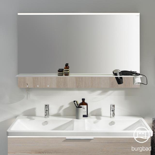 Burgbad Eqio Spiegel mit horizontaler LED-Aufsatzleuchte und Ablage eiche flanell dekor
