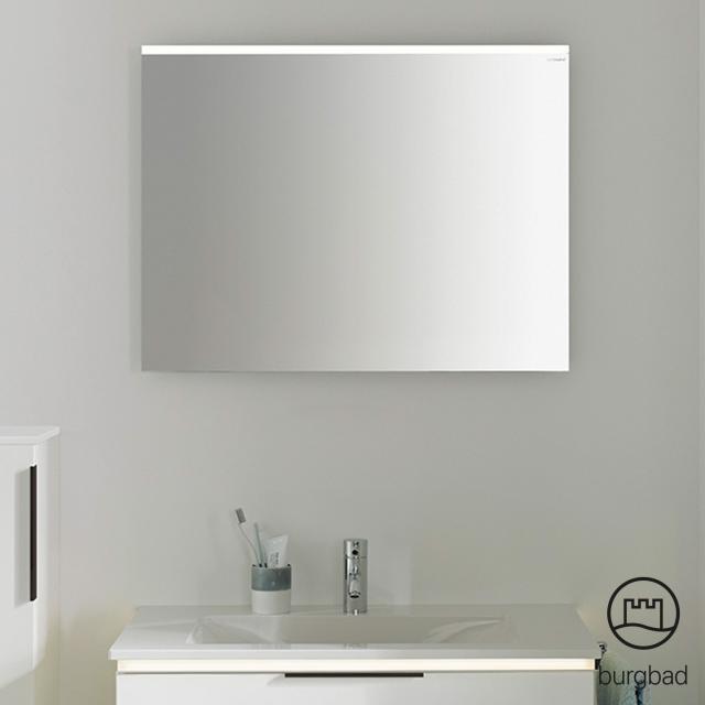Burgbad Eqio Spiegel mit horizontaler LED-Aufsatzleuchte weiß glanz