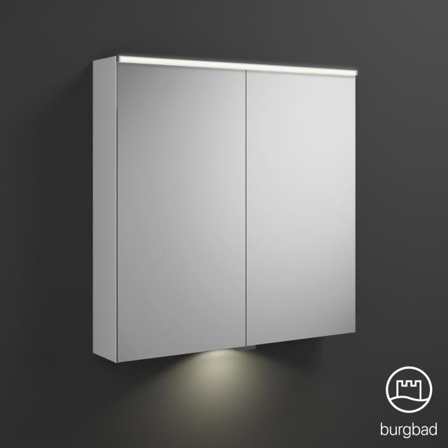 Burgbad Eqio Spiegelschrank mit LED-Beleuchtung mit 2-Türen weiß glanz, mit Waschtischbeleuchtung