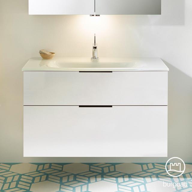 Burgbad Eqio Waschtisch mit Waschtischunterschrank mit 2 Auszügen Front weiß hochglanz / Korpus weiß glanz, Griff schwarz matt
