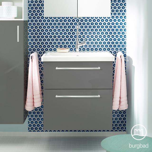 Burgbad Eqio Waschtisch mit Waschtischunterschrank mit 2 Auszügen Front grau hochglanz / Korpus grau glanz, Stangengriff chrom