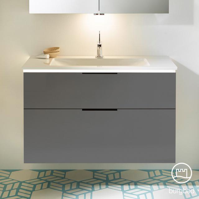 Burgbad Eqio Waschtisch mit Waschtischunterschrank mit LED-Beleuchtung mit 2 Auszügen Front grau hochglanz / Korpus grau glanz, Griff schwarz matt