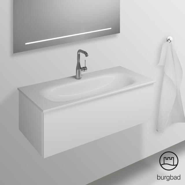 Burgbad Essence Waschtischunterschrank mit 1 Auszug Front weiß hochglanz/Korpus weiß hochglanz