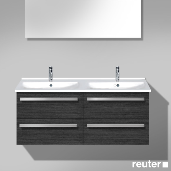 Burgbad Essento Waschtischunterschrank mit Doppelwaschtisch mit 4 Auszügen Front hacienda schwarz / Korpus hacienda schwarz / Waschtisch weiß