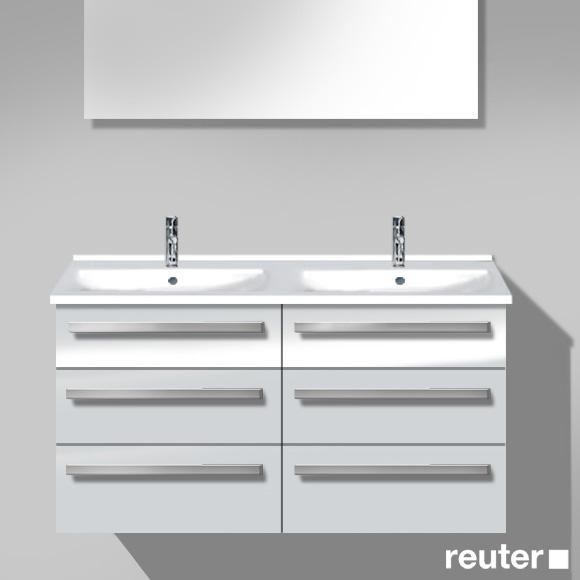 Burgbad Essento Waschtischunterschrank mit Doppelwaschtisch mit 6 Auszügen Front weiß hochglanz/Korpus weiß hochglanz/Waschtisch weiß