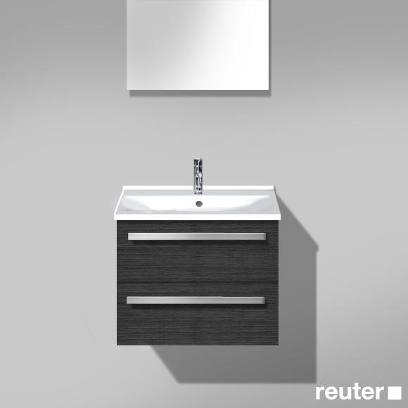 Burgbad Essento Waschtischunterschrank mit Waschtisch mit 2 Auszügen Front hacienda schwarz / Korpus hacienda schwarz / Waschtisch weiß