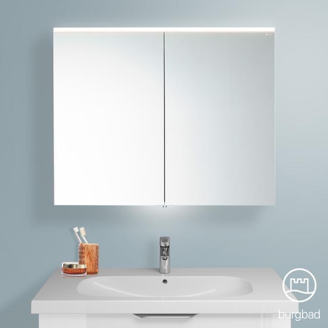 Burgbad Euro Spiegelschrank mit LED-Beleuchtung und 2 Türen weiß hochglanz