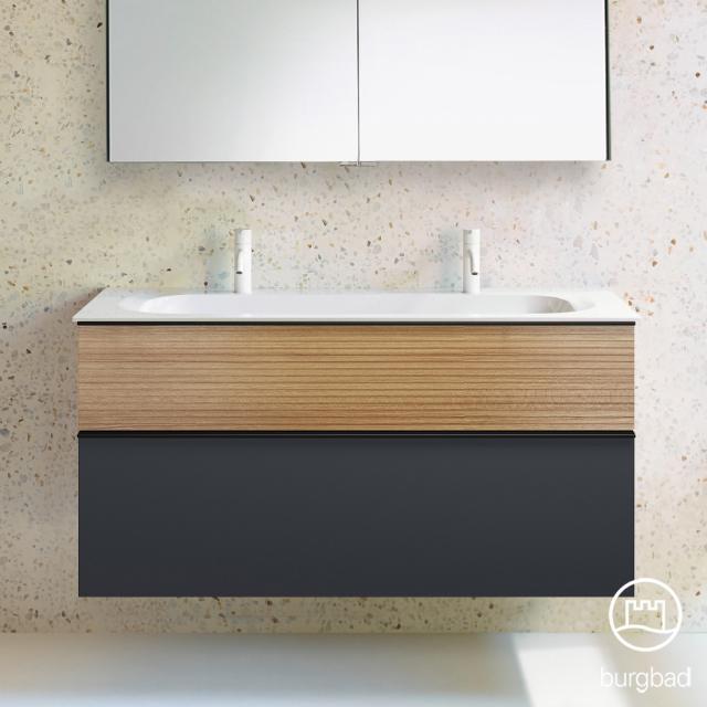 Burgbad Fiumo Doppelwaschtisch mit Waschtischunterschrank mit 2 Auszügen Front graphit softmatt/tectona zimt dekor / Korpus graphit softmatt, Griffleiste schwarz matt