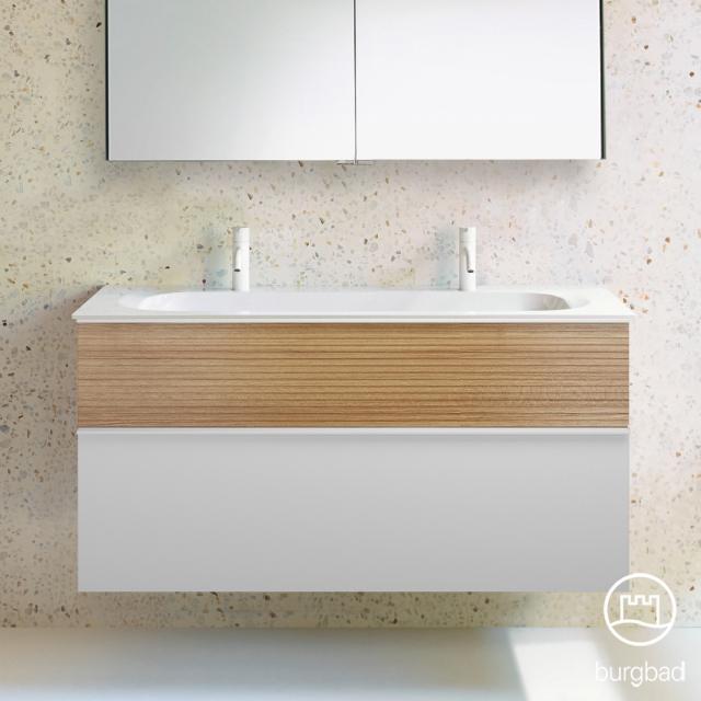 Burgbad Fiumo Doppelwaschtisch mit Waschtischunterschrank mit 2 Auszügen Front weiß matt/tectona zimt dekor / Korpus weiß matt, Griffleiste weiß matt