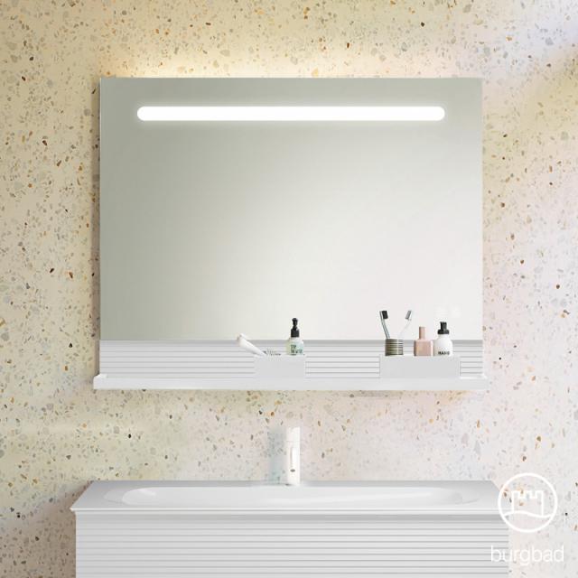 Burgbad Fiumo Leuchtspiegel mit horizontaler LED-Beleuchtung weiß matt, Reling weiß