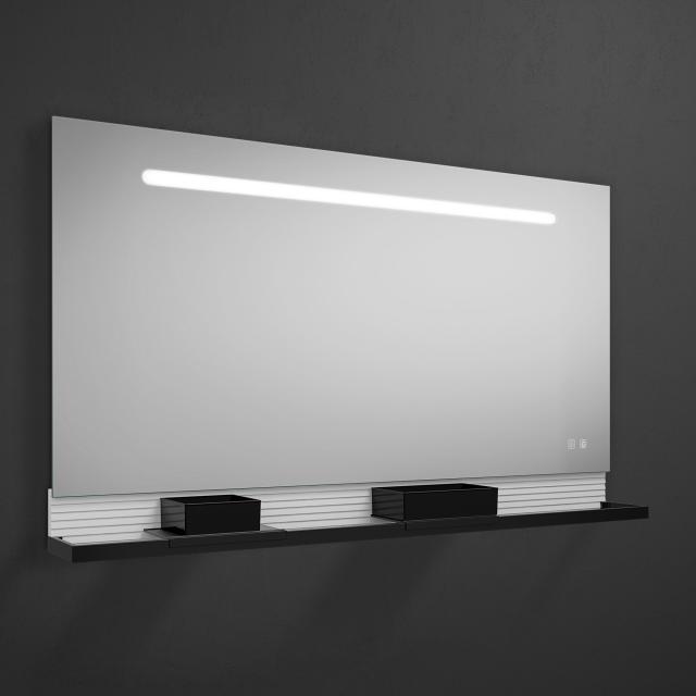 Burgbad Fiumo Leuchtspiegel mit horizontaler LED-Beleuchtung weiß matt, Reling schwarz