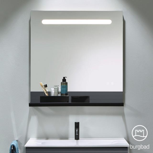 Burgbad Fiumo Leuchtspiegel mit horizontaler LED-Beleuchtung graphit softmatt, Reling schwarz