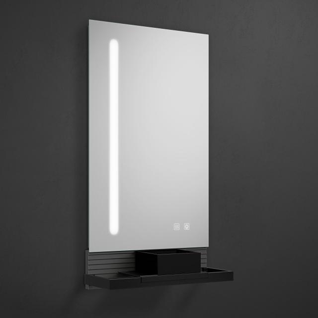 Burgbad Fiumo Leuchtspiegel mit vertikaler LED-Beleuchtung graphit softmatt, Reling schwarz