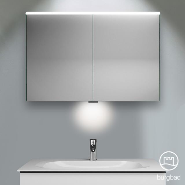 Burgbad Fiumo Spiegelschrank mit LED-Beleuchtung mit 2 Türen mit Waschtischbeleuchtung