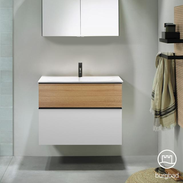 Burgbad Fiumo Waschtisch mit Waschtischunterschrank mit 2 Auszügen Front weiß matt/tectona zimt dekor / Korpus weiß matt, Griffleiste schwarz matt