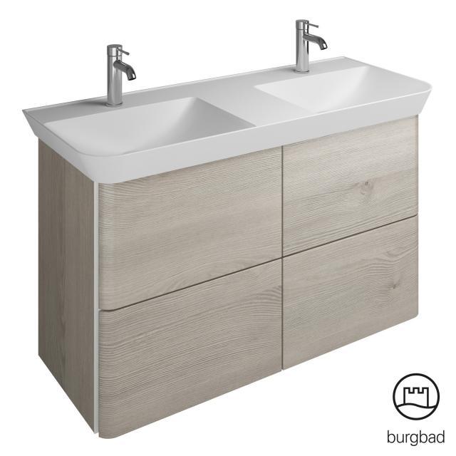 Burgbad Iveo Doppelwaschtisch mit Waschtischunterschrank mit 4 Auszügen Front eiche flanelle dekor / Korpus eiche flanelle dekor