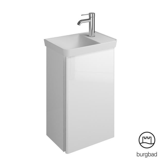 Burgbad Iveo Handwaschbecken mit Waschtischunterschrank mit 1 Tür Front weiß hochglanz / Korpus weiß hochglanz