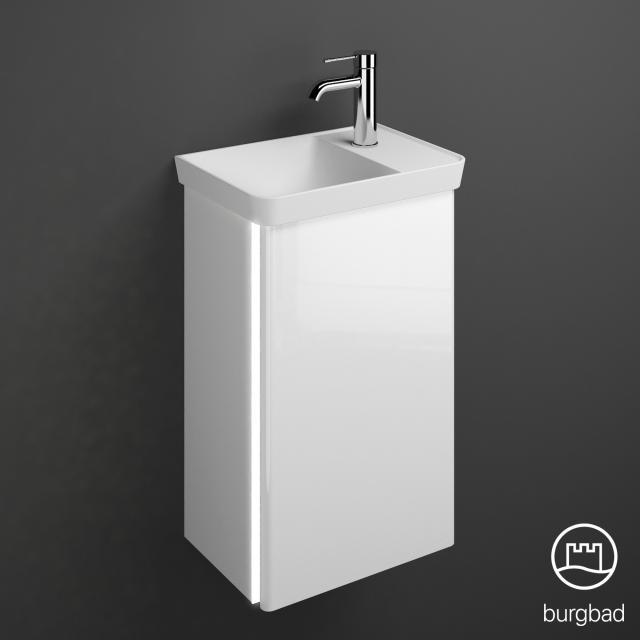 Burgbad Iveo Handwaschbecken mit Waschtischunterschrank mit LED-Beleuchtung mit 1 Tür Front weiß hochglanz / Korpus weiß hochglanz