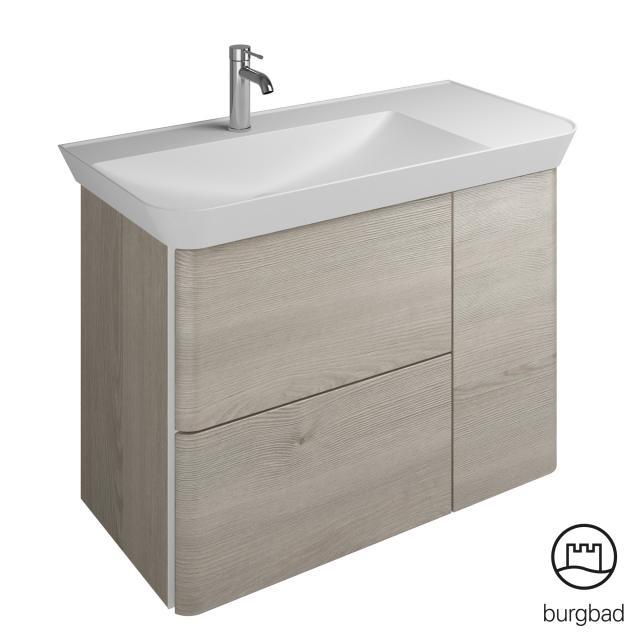 Burgbad Iveo Waschtisch mit Waschtischunterschrank mit 2 Auszügen und 1 Tür Front eiche flanelle dekor / Korpus eiche flanelle dekor