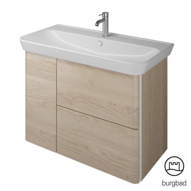 Burgbad Iveo Waschtisch mit Waschtischunterschrank mit 2 Auszügen und 1 Tür Front eiche cashmere dekor / Korpus eiche cashmere dekor