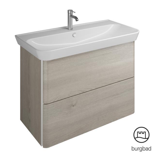 Burgbad Iveo Waschtisch mit Waschtischunterschrank mit 2 Auszügen Front eiche flanelle dekor / Korpus eiche flanelle dekor