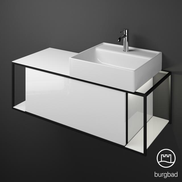 Burgbad Junit Aufsatzwaschtisch mit Waschtischunterschrank mit LED-Beleuchtung mit 1 Auszug Front weiß hochglanz / Korpus weiß hochglanz