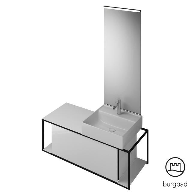 Burgbad Junit Badmöbel-Set Keramik-Waschtisch inkl. Waschtischunterschrank und Spiegel Front weiß hochglanz / Korpus weiß hochglanz