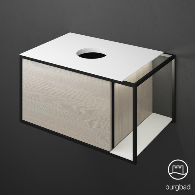 Burgbad Junit Waschtischunterschrank mit LED-Beleuchtung und 1 Auszug für Aufsatzwaschtisch Front eiche flanell dekor / Korpus eiche flanell dekor