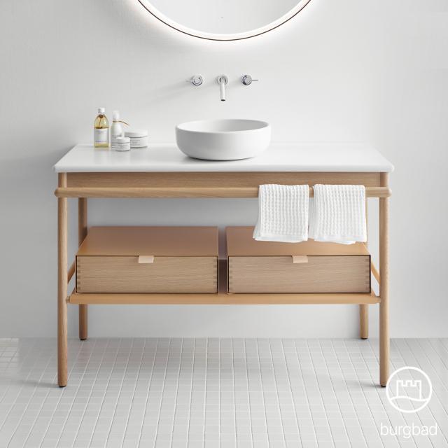 Burgbad Mya Aufsatzwaschtisch mit Waschtischunterschrank, 2 Schubladen Front eiche natur/Korpus eiche natur/Waschtisch weiß samt