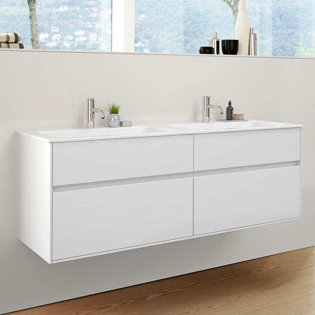 Burgbad RC40 Solitaire Keramik-Doppelwaschtisch mit Waschtischunterschrank mit 2 Auszügen Front weiß hochglanz / Korpus weiß hochglanz