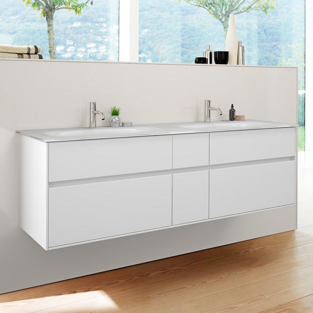 Burgbad RC40 Solitaire Glas-Doppelwaschtisch mit Waschtischunterschrank mit 4 Auszügen Front weiß matt / Korpus weiß matt, Waschtisch weiß matt