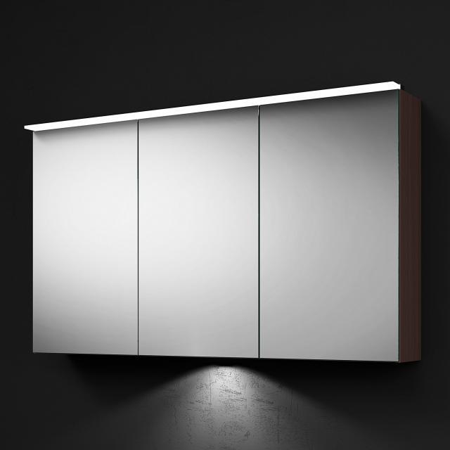 Burgbad RC40 Solitaire Spiegelschrank mit LED-Beleuchtung mit 3 Türen Korpus eiche tabak, mit Waschtischbeleuchtung