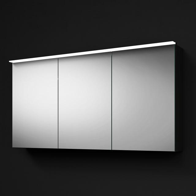 Burgbad RC40 Solitaire Spiegelschrank mit LED-Beleuchtung mit 3 Türen Korpus dunkelgrau hochglanz, mit Waschtischbeleuchtung