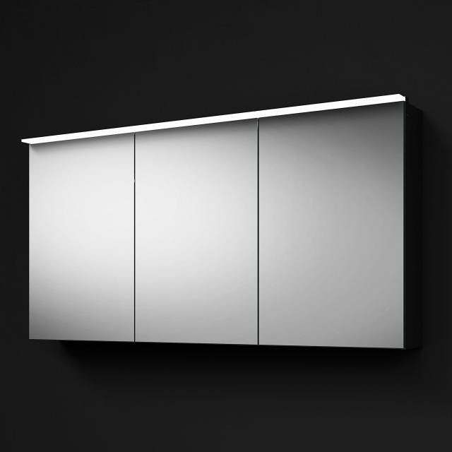Burgbad RC40 Solitaire Spiegelschrank mit LED-Beleuchtung mit 3 Türen Korpus dunkelgrau matt, mit Waschtischbeleuchtung