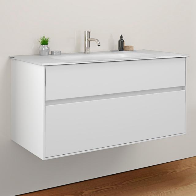 Burgbad RC40 Solitaire Glas-Waschtisch mit Waschtischunterschrank mit 1 Auszug Front weiß matt / Korpus weiß matt, Waschtisch weiß matt