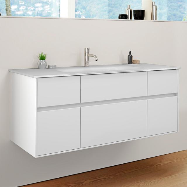 Burgbad RC40 Solitaire Glas-Waschtisch mit Waschtischunterschrank mit 5 Auszügen Front weiß hochglanz / Korpus weiß hochglanz, Waschtisch weiß hochglanz