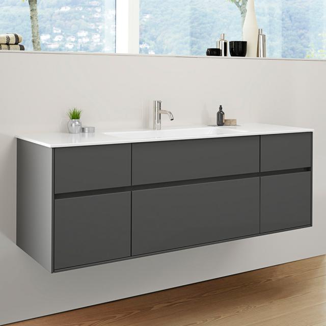 Burgbad RC40 Solitaire Keramik-Waschtisch mit Waschtischunterschrank mit 5 Auszügen Front dunkelgrau hochglanz / Korpus dunkelgrau hochglanz