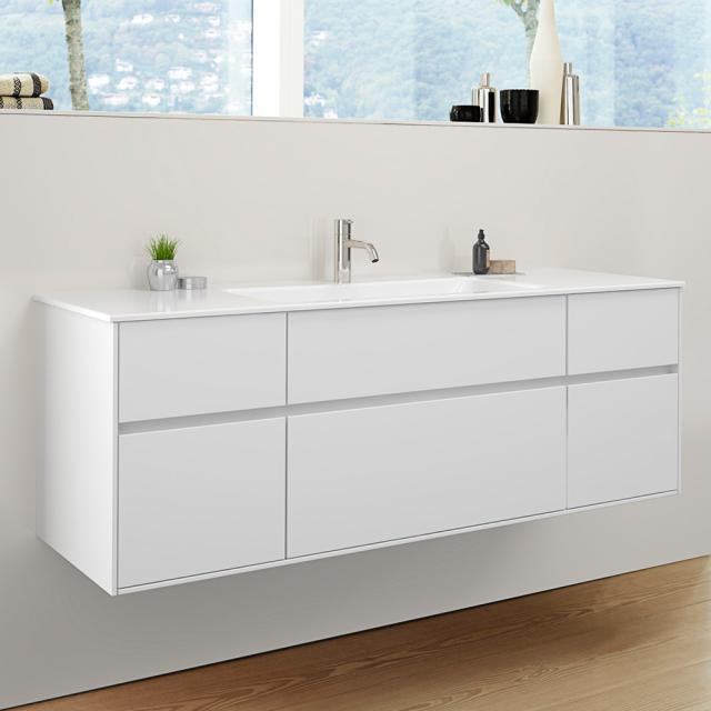 Burgbad RC40 Solitaire Keramik-Waschtisch mit Waschtischunterschrank mit 5 Auszügen Front weiß matt / Korpus weiß matt